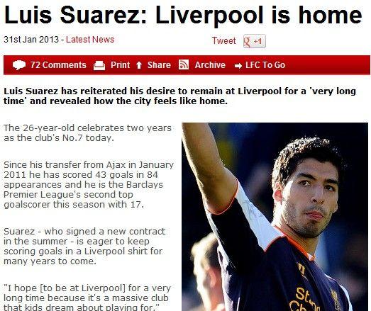 苏亚雷斯:利物浦才是我的家 杰拉德是所有人榜
