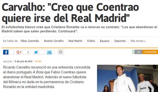 卡瓦略:C罗比梅西更全面 科恩特朗想离开皇马