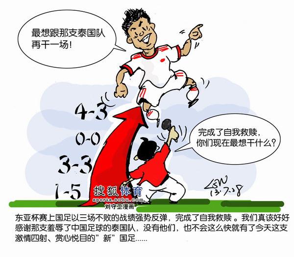 刘守卫漫画:夺亚的国足一定很想和泰国再PK一
