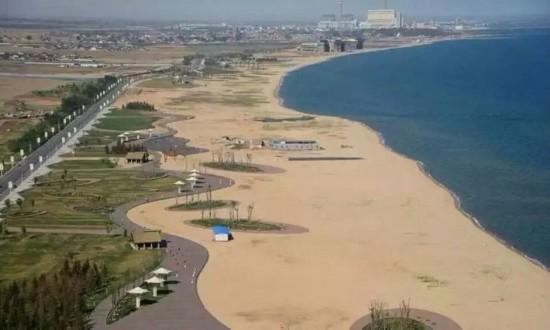 美丽的海边比赛路线风景.